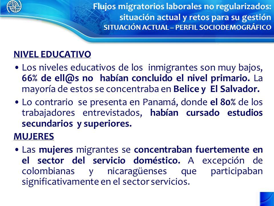 NIVEL EDUCATIVO Los niveles educativos de los inmigrantes son muy bajos, 66% de ell@s no habían concluido el nivel primario. La mayoría de estos se co