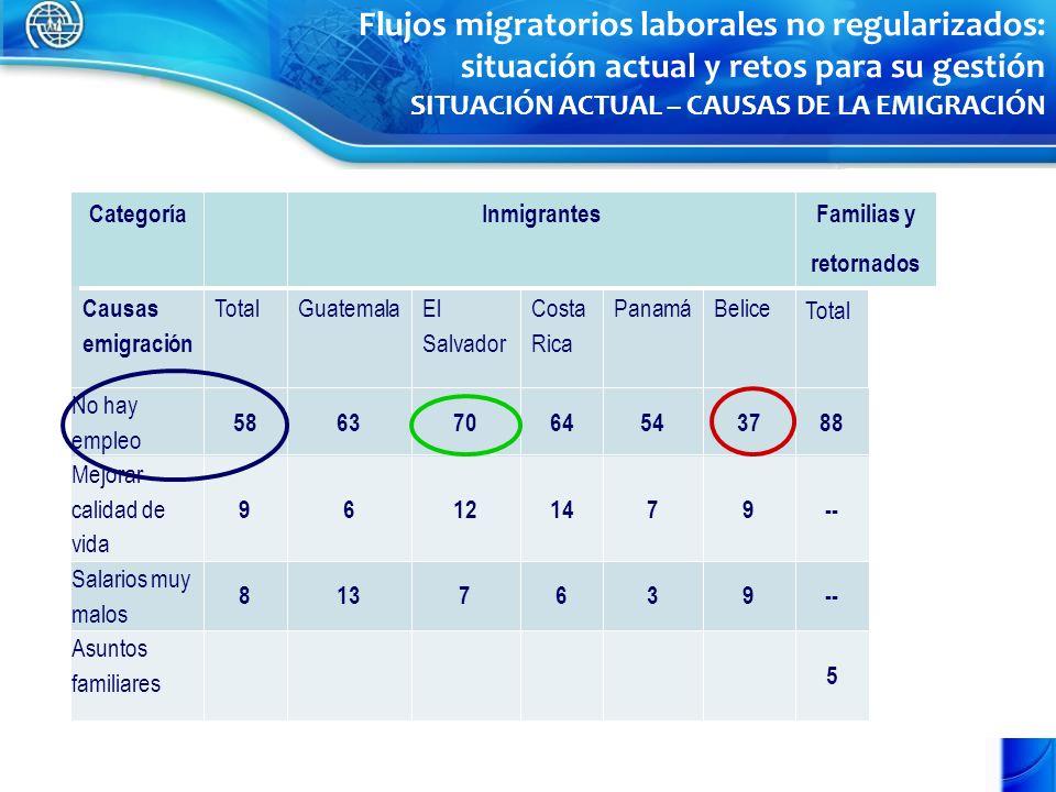 Flujos migratorios laborales no regularizados: situación actual y retos para su gestión SITUACIÓN ACTUAL – CAUSAS DE LA EMIGRACIÓN CategoríaInmigrantesFamilias y retornados Causas emigración TotalGuatemalaEl Salvador Costa Rica PanamáBelice Total No hay empleo 58637064543788 Mejorar calidad de vida 96121479-- Salarios muy malos 8137639-- Asuntos familiares 5