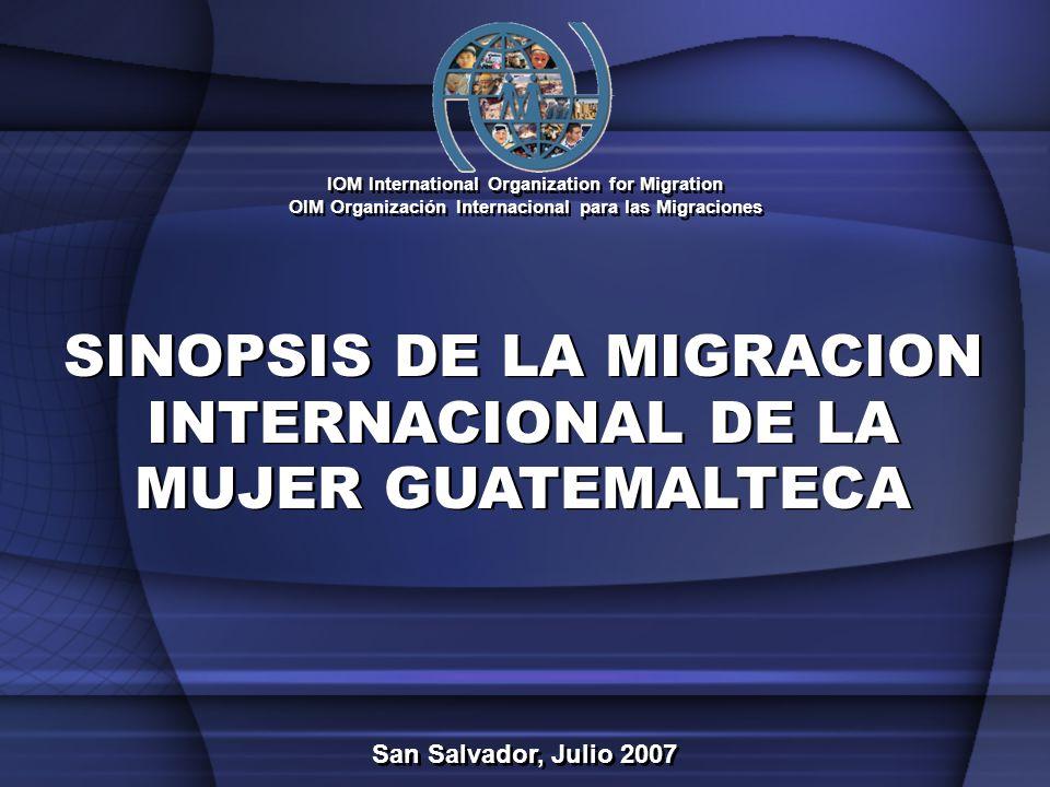 GUATEMALA EVOLUCIÓN DE LA EMIGRACIÓN INTERNACIONAL Estimación Total de Emigrantes Guatemaltecos al Año 2006: 1,413,486 Fuente: OIM - 200,000 400,000 600,000 800,000 1,000,000 1,200,000 1,400,000 1,600,000 Antes de 1960 1960-19691970-19791980-1989 19901991199219931994199519961997199819992000200120022003200420052006