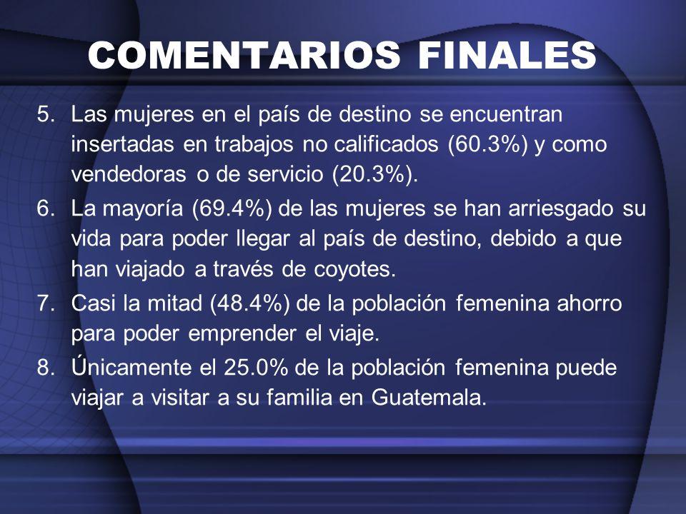 COMENTARIOS FINALES 5.Las mujeres en el país de destino se encuentran insertadas en trabajos no calificados (60.3%) y como vendedoras o de servicio (2