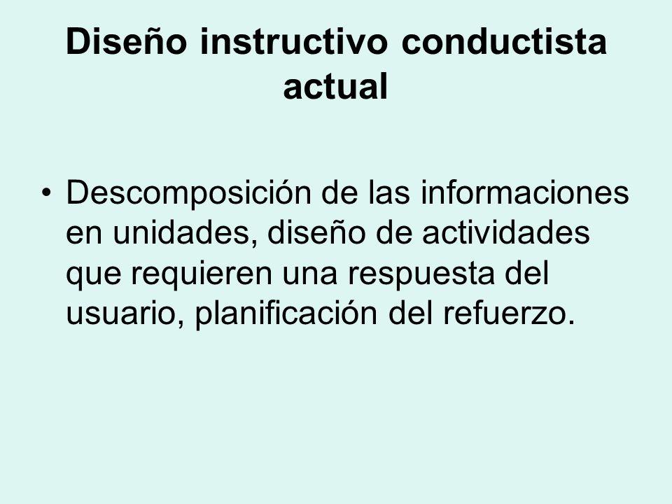 Diseño instructivo conductista actual Descomposición de las informaciones en unidades, diseño de actividades que requieren una respuesta del usuario, planificación del refuerzo.