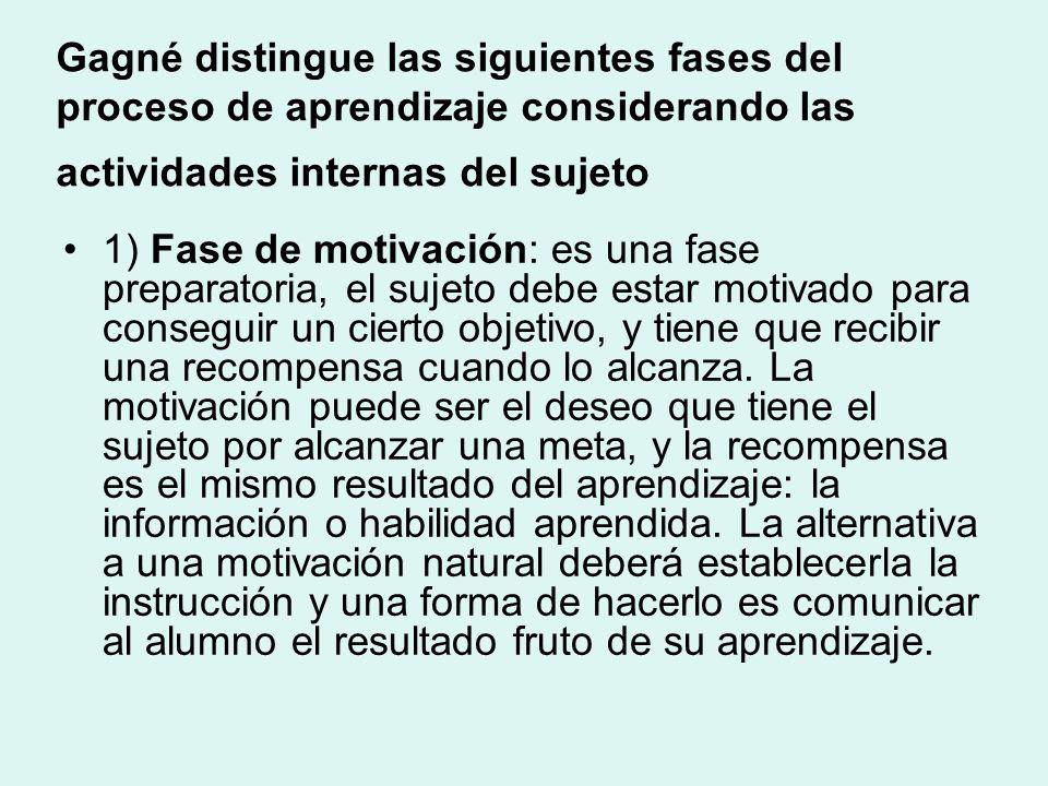 Gagné distingue las siguientes fases del proceso de aprendizaje considerando las actividades internas del sujeto 1) Fase de motivación: es una fase preparatoria, el sujeto debe estar motivado para conseguir un cierto objetivo, y tiene que recibir una recompensa cuando lo alcanza.