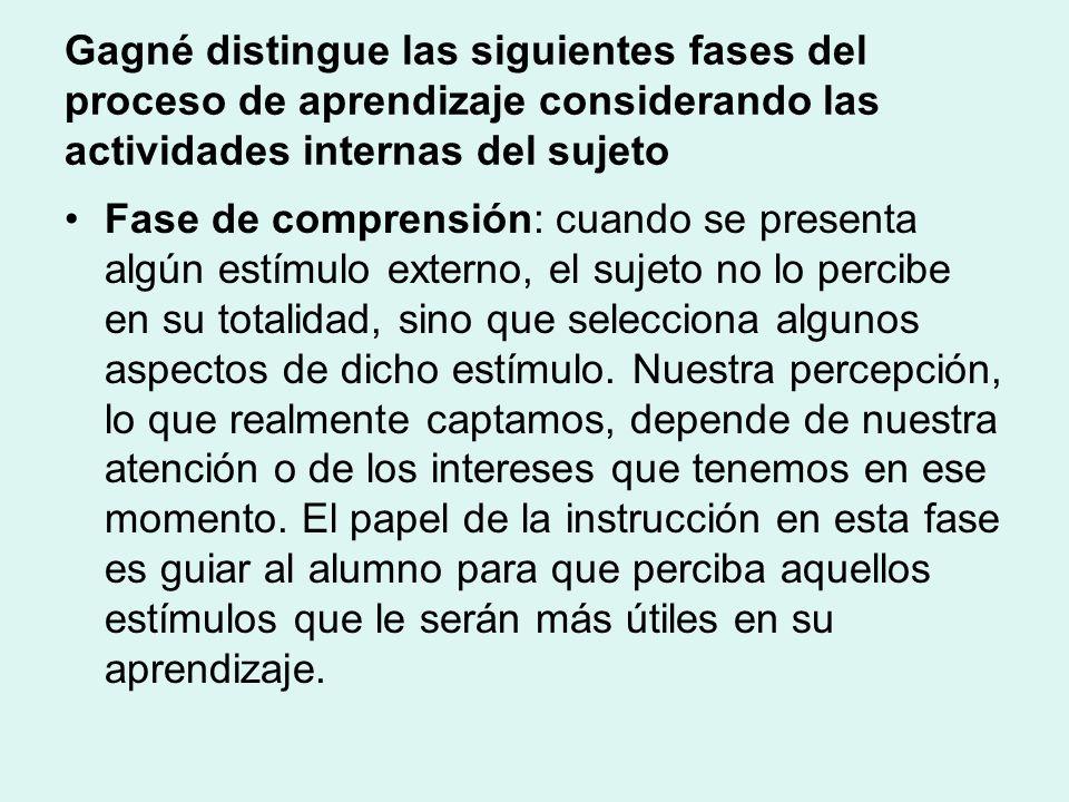 Gagné distingue las siguientes fases del proceso de aprendizaje considerando las actividades internas del sujeto Fase de comprensión: cuando se presenta algún estímulo externo, el sujeto no lo percibe en su totalidad, sino que selecciona algunos aspectos de dicho estímulo.