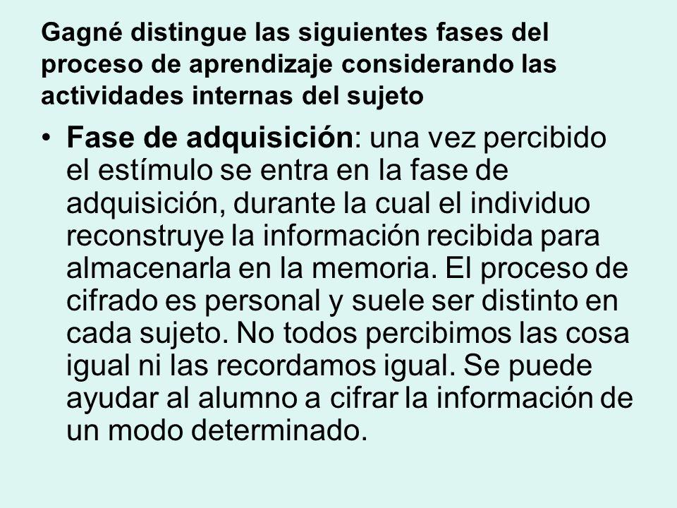 Gagné distingue las siguientes fases del proceso de aprendizaje considerando las actividades internas del sujeto Fase de adquisición: una vez percibid