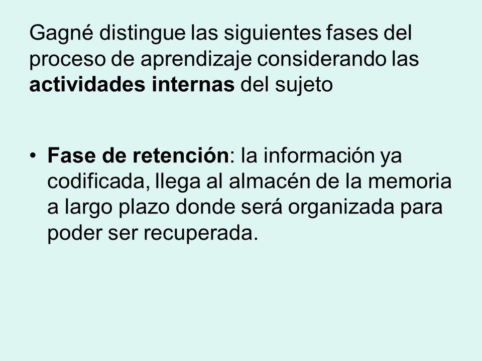 Gagné distingue las siguientes fases del proceso de aprendizaje considerando las actividades internas del sujeto Fase de retención: la información ya codificada, llega al almacén de la memoria a largo plazo donde será organizada para poder ser recuperada.