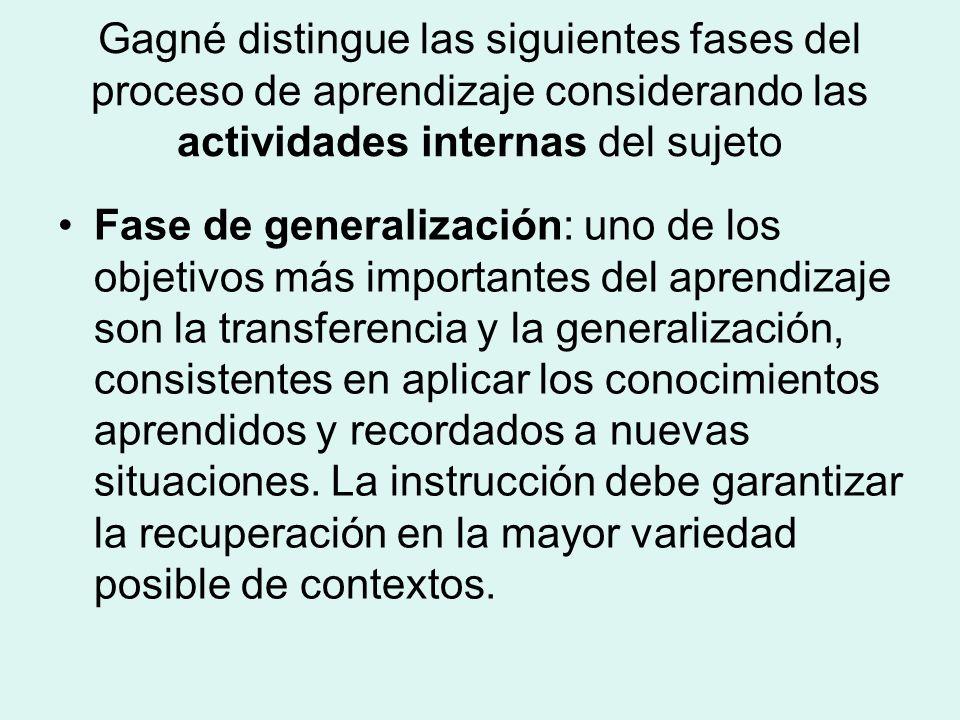 Gagné distingue las siguientes fases del proceso de aprendizaje considerando las actividades internas del sujeto Fase de generalización: uno de los objetivos más importantes del aprendizaje son la transferencia y la generalización, consistentes en aplicar los conocimientos aprendidos y recordados a nuevas situaciones.