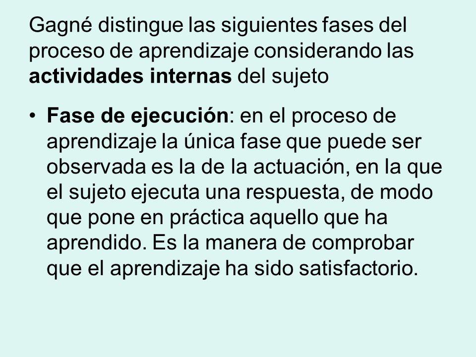 Gagné distingue las siguientes fases del proceso de aprendizaje considerando las actividades internas del sujeto Fase de ejecución: en el proceso de aprendizaje la única fase que puede ser observada es la de la actuación, en la que el sujeto ejecuta una respuesta, de modo que pone en práctica aquello que ha aprendido.