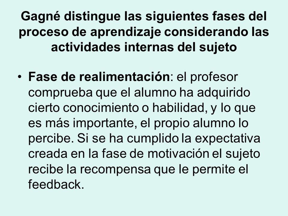 Gagné distingue las siguientes fases del proceso de aprendizaje considerando las actividades internas del sujeto Fase de realimentación: el profesor comprueba que el alumno ha adquirido cierto conocimiento o habilidad, y lo que es más importante, el propio alumno lo percibe.