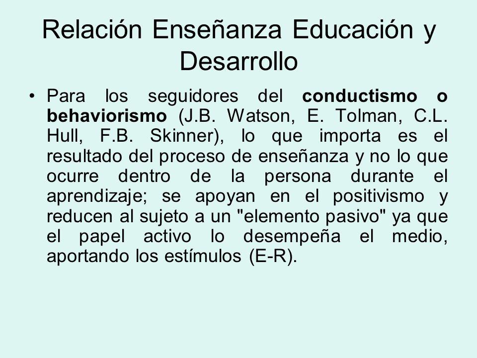 Relación Enseñanza Educación y Desarrollo Para los seguidores del conductismo o behaviorismo (J.B.