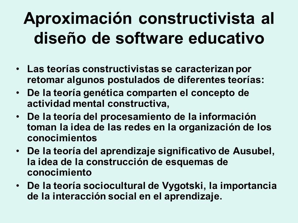 Aproximación constructivista al diseño de software educativo Las teorías constructivistas se caracterizan por retomar algunos postulados de diferentes