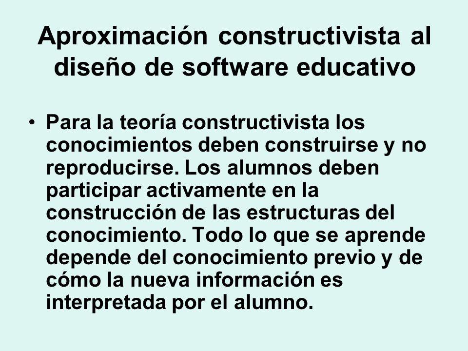 Aproximación constructivista al diseño de software educativo Para la teoría constructivista los conocimientos deben construirse y no reproducirse. Los