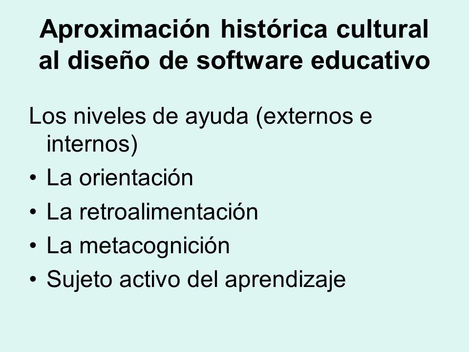 Aproximación histórica cultural al diseño de software educativo Los niveles de ayuda (externos e internos) La orientación La retroalimentación La metacognición Sujeto activo del aprendizaje
