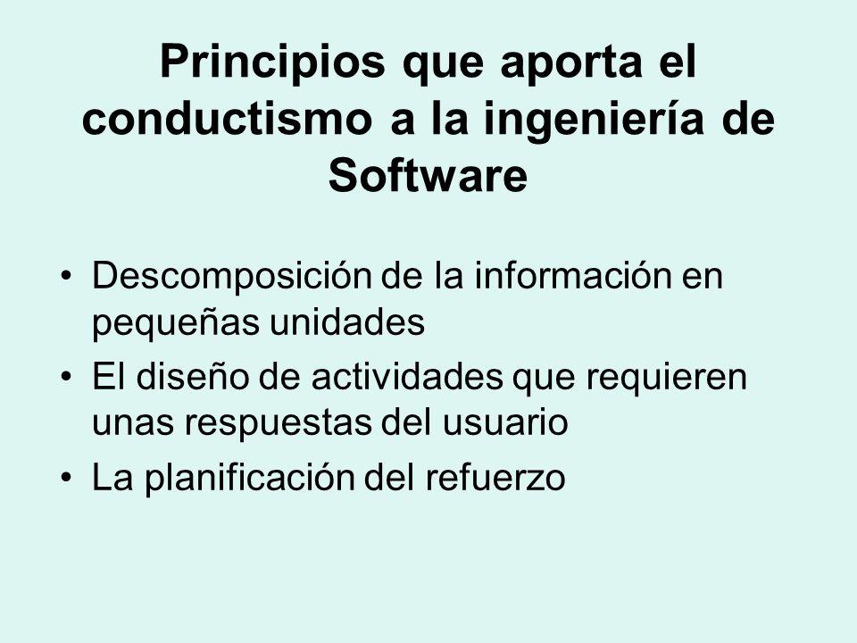 Principios que aporta el conductismo a la ingeniería de Software Descomposición de la información en pequeñas unidades El diseño de actividades que requieren unas respuestas del usuario La planificación del refuerzo