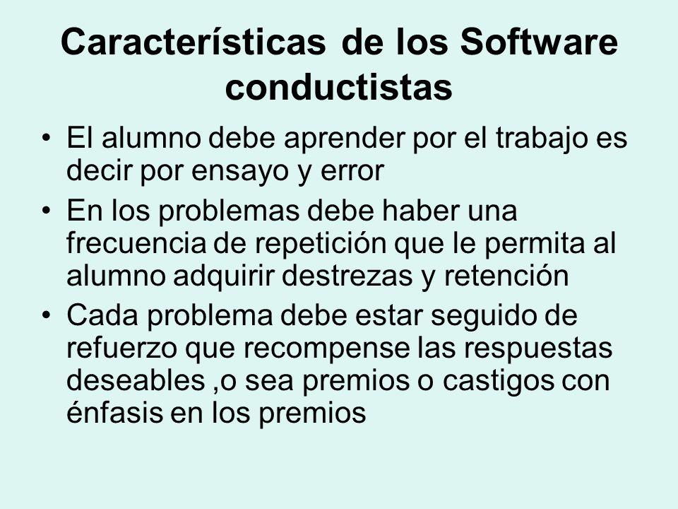 Características de los Software conductistas El alumno debe aprender por el trabajo es decir por ensayo y error En los problemas debe haber una frecue