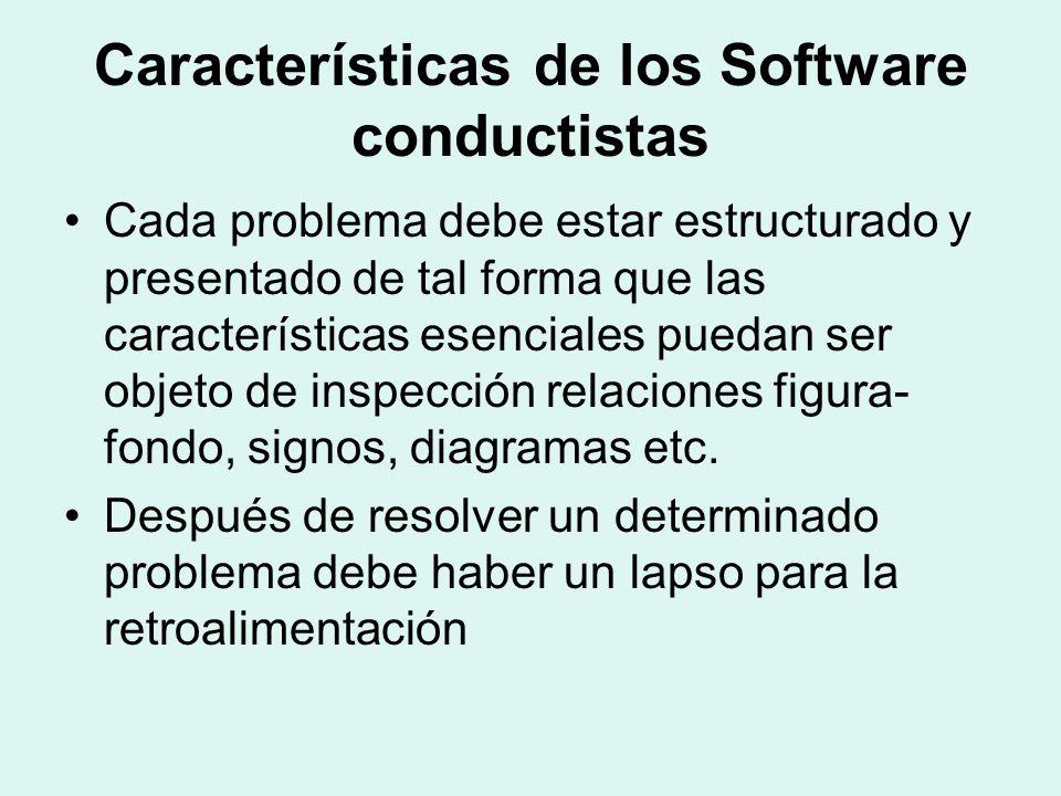 Características de los Software conductistas Cada problema debe estar estructurado y presentado de tal forma que las características esenciales puedan