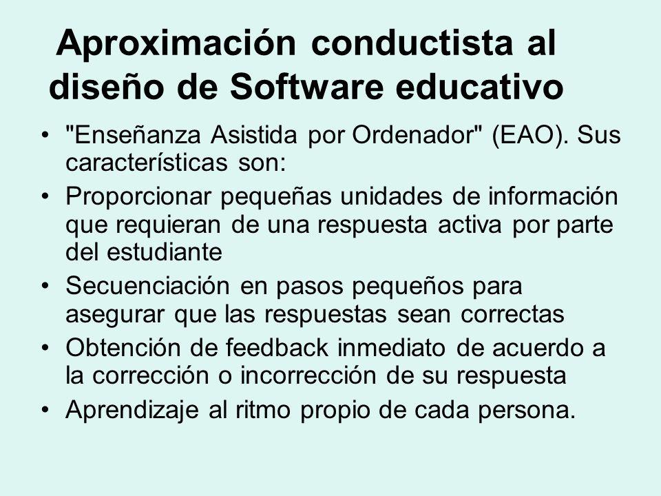 Aproximación conductista al diseño de Software educativo Enseñanza Asistida por Ordenador (EAO).