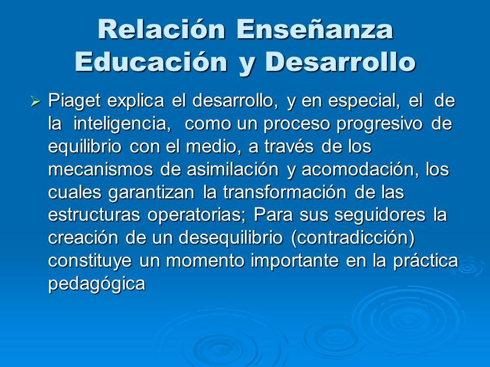 Relación Enseñanza Educación y Desarrollo Piaget explica el desarrollo, y en especial, el de la inteligencia, como un proceso progresivo de equilibrio
