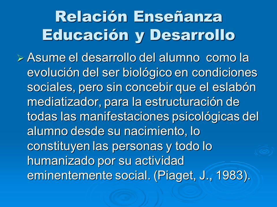Relación Enseñanza Educación y Desarrollo Asume el desarrollo del alumno como la evolución del ser biológico en condiciones sociales, pero sin concebi