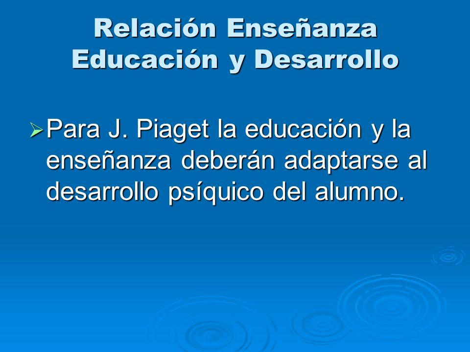 Relación Enseñanza Educación y Desarrollo Para J. Piaget la educación y la enseñanza deberán adaptarse al desarrollo psíquico del alumno. Para J. Piag