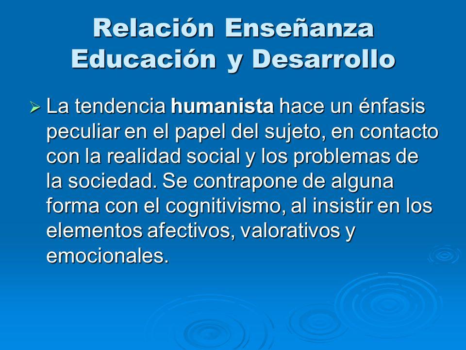 Relación Enseñanza Educación y Desarrollo La tendencia humanista hace un énfasis peculiar en el papel del sujeto, en contacto con la realidad social y