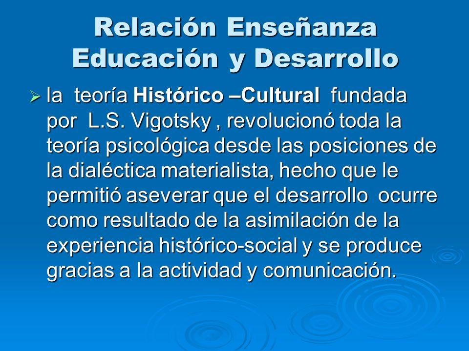 Relación Enseñanza Educación y Desarrollo la teoría Histórico –Cultural fundada por L.S. Vigotsky, revolucionó toda la teoría psicológica desde las po