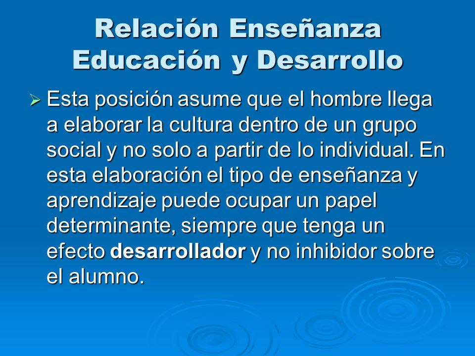 Relación Enseñanza Educación y Desarrollo Esta posición asume que el hombre llega a elaborar la cultura dentro de un grupo social y no solo a partir d