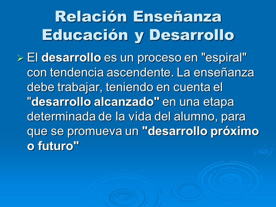 Relación Enseñanza Educación y Desarrollo El desarrollo es un proceso en