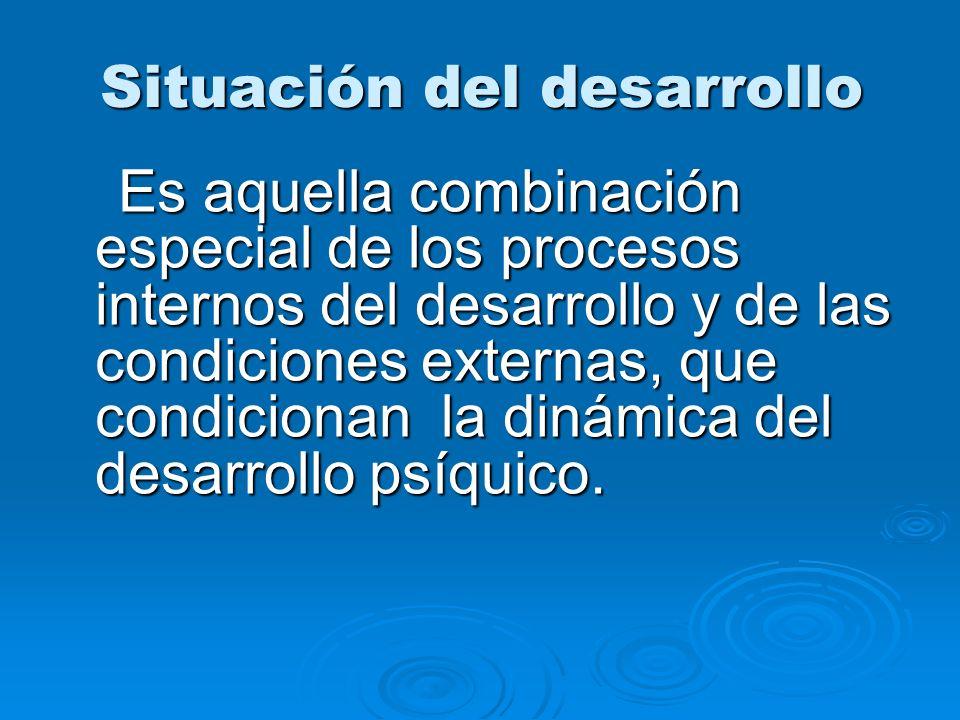 Situación del desarrollo Es aquella combinación especial de los procesos internos del desarrollo y de las condiciones externas, que condicionan la din