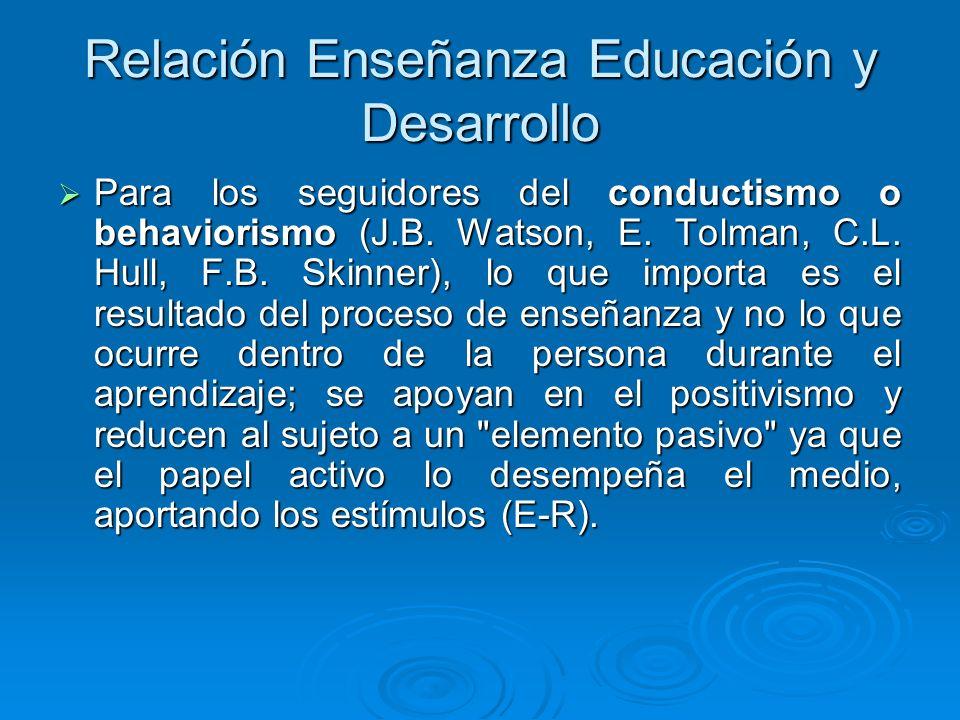 Relación Enseñanza Educación y Desarrollo Para los seguidores del conductismo o behaviorismo (J.B. Watson, E. Tolman, C.L. Hull, F.B. Skinner), lo que