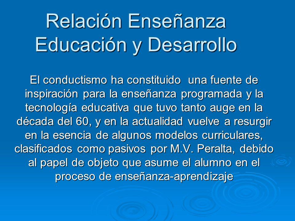 Relación Enseñanza Educación y Desarrollo El conductismo ha constituido una fuente de inspiración para la enseñanza programada y la tecnología educati