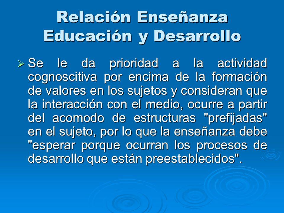 Relación Enseñanza Educación y Desarrollo Se le da prioridad a la actividad cognoscitiva por encima de la formación de valores en los sujetos y consid