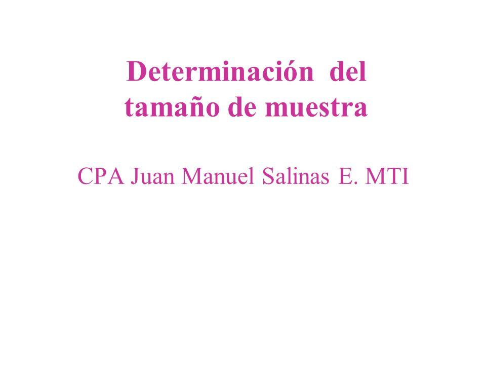 CPA Juan Manuel Salinas E. MTI Determinación del tamaño de muestra