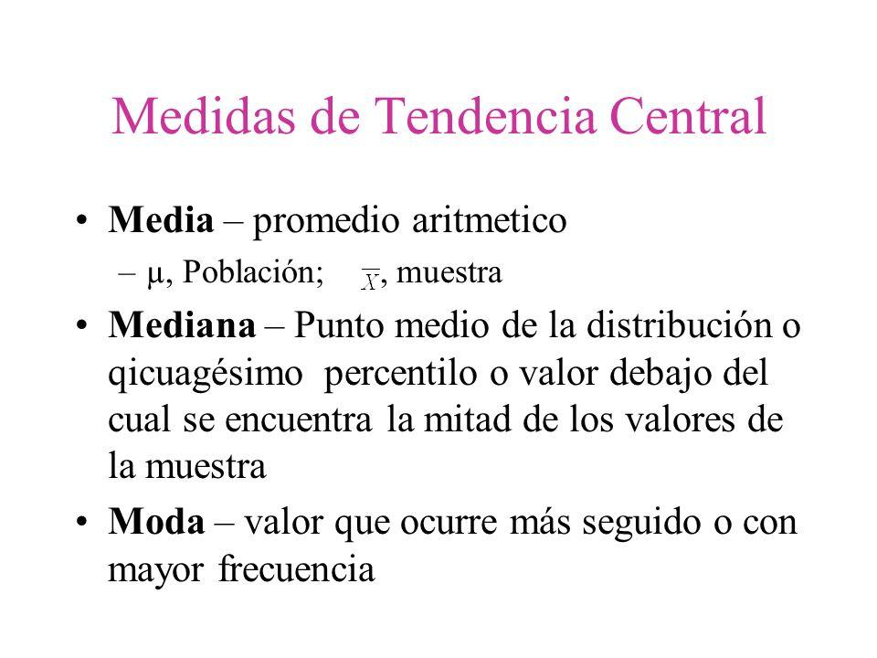 Medidas de Tendencia Central Media – promedio aritmetico –µ, Población;, muestra Mediana – Punto medio de la distribución o qicuagésimo percentilo o v