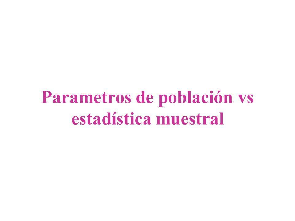 Parametros de población Variables o caracteristicas medidas en una población Para identificarlas se utilizan letras griegas en minusculas µ,