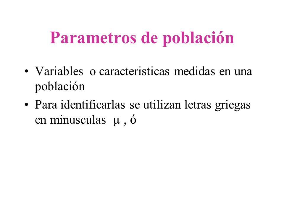 Estadística Muestral Variables en una muestra o medidas calculadas a partir de los datos de la muestra.