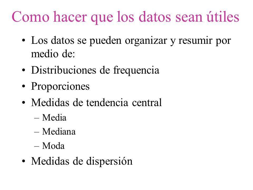 Como hacer que los datos sean útiles Los datos se pueden organizar y resumir por medio de: Distribuciones de frequencia Proporciones Medidas de tenden