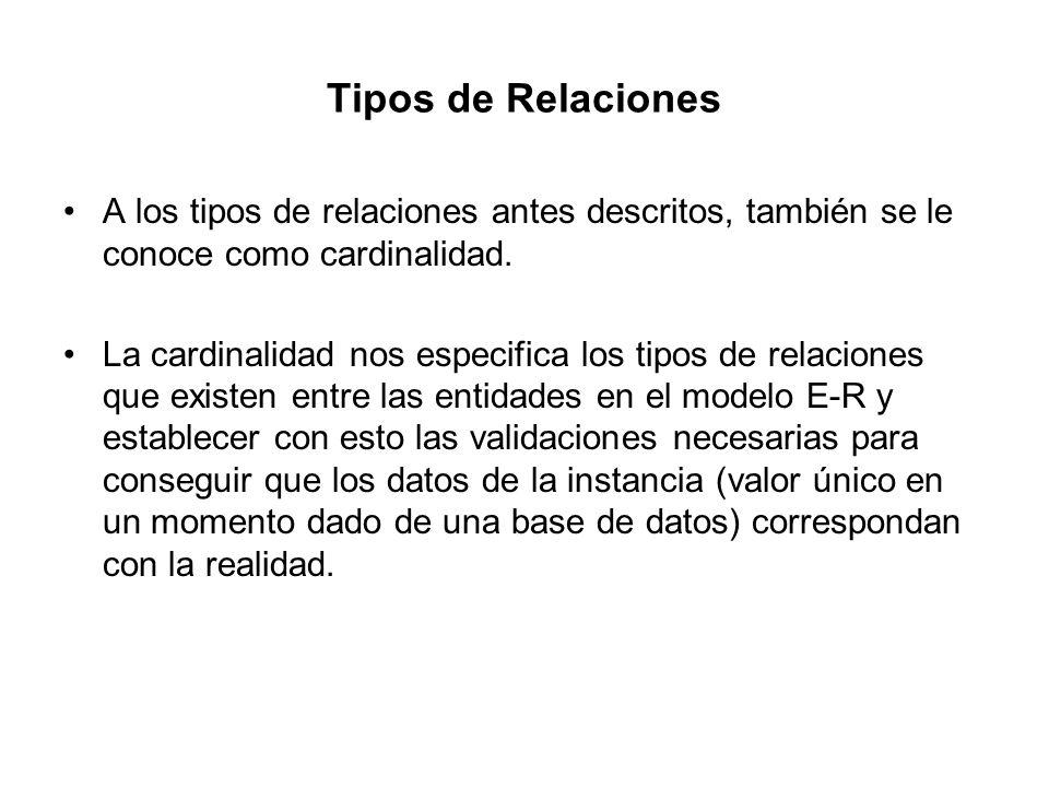 Tipos de Relaciones A los tipos de relaciones antes descritos, también se le conoce como cardinalidad. La cardinalidad nos especifica los tipos de rel