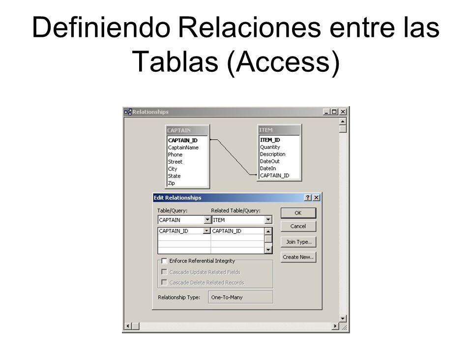 Definiendo Relaciones entre las Tablas (Access)