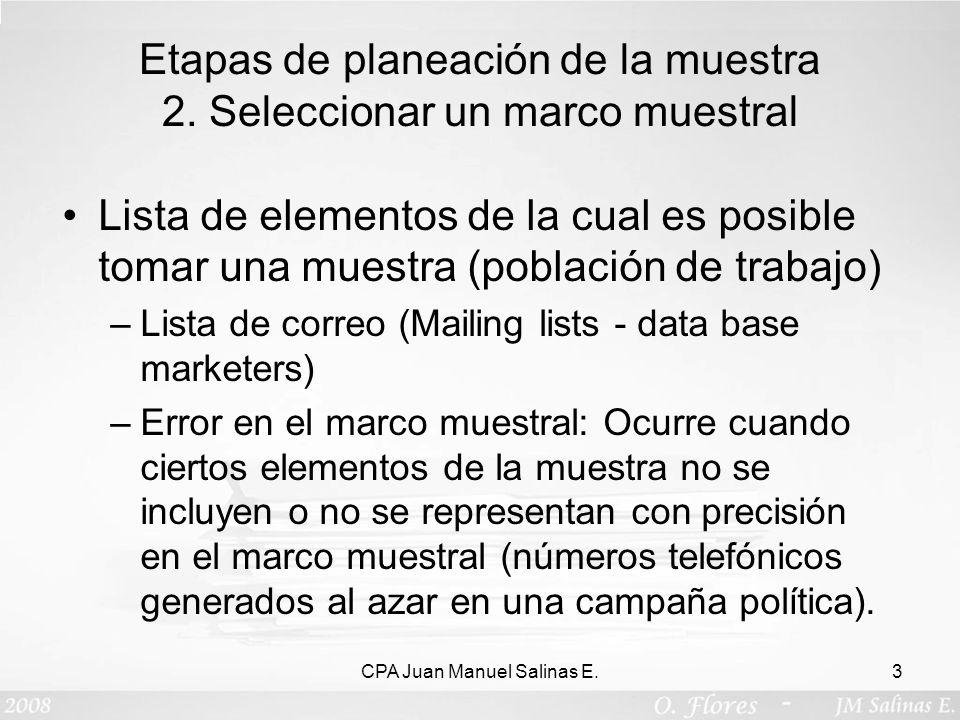 Etapas de planeación de la muestra 2. Seleccionar un marco muestral Lista de elementos de la cual es posible tomar una muestra (población de trabajo)