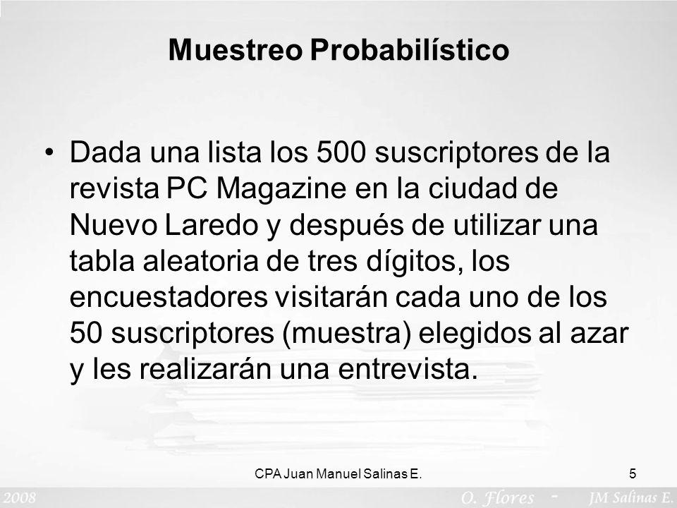 Muestreo Probabilístico Dada una lista los 500 suscriptores de la revista PC Magazine en la ciudad de Nuevo Laredo y después de utilizar una tabla ale