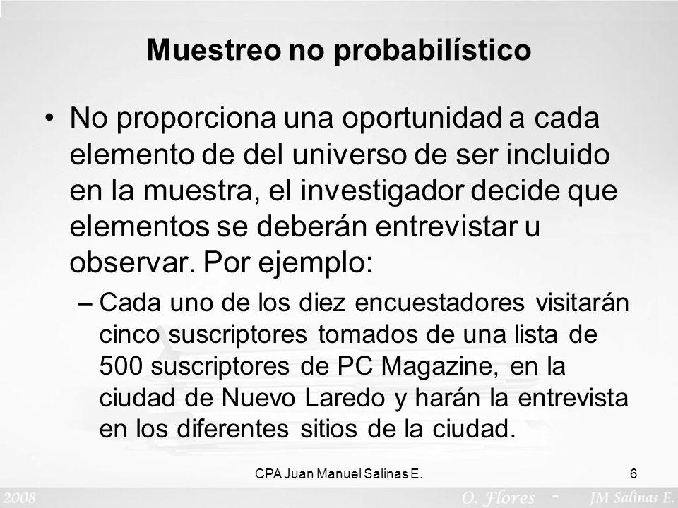 Muestreo no probabilístico No proporciona una oportunidad a cada elemento de del universo de ser incluido en la muestra, el investigador decide que el
