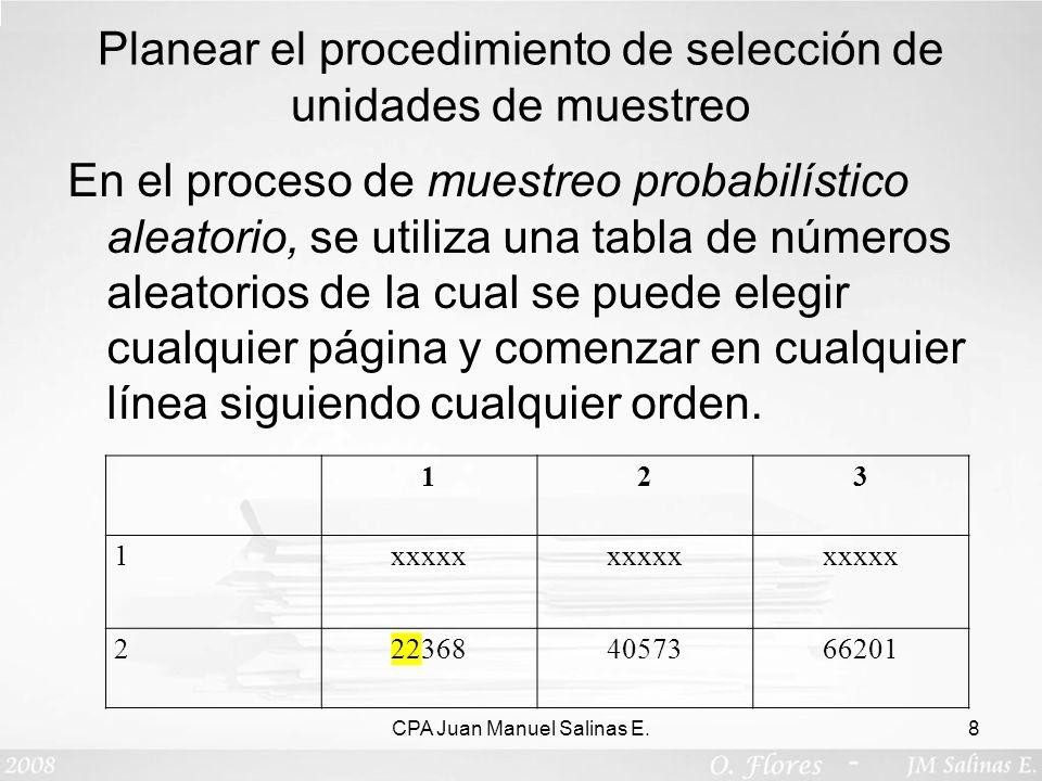 Planear el procedimiento de selección de unidades de muestreo En el proceso de muestreo probabilístico aleatorio, se utiliza una tabla de números alea