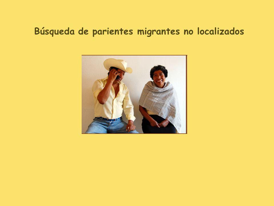 Búsqueda de parientes migrantes no localizados