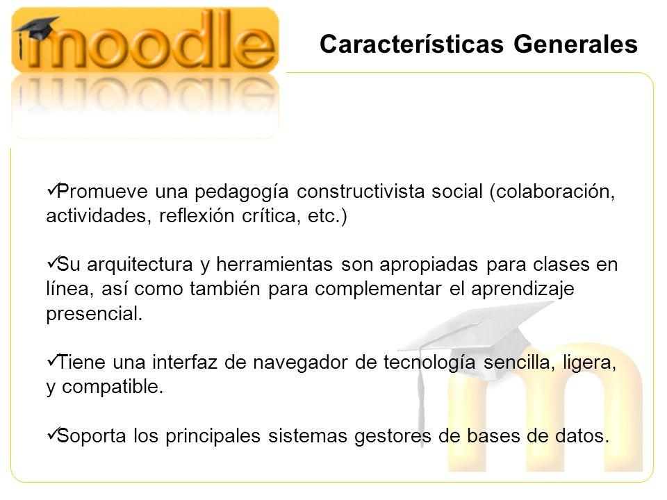 Promueve una pedagogía constructivista social (colaboración, actividades, reflexión crítica, etc.) Su arquitectura y herramientas son apropiadas para