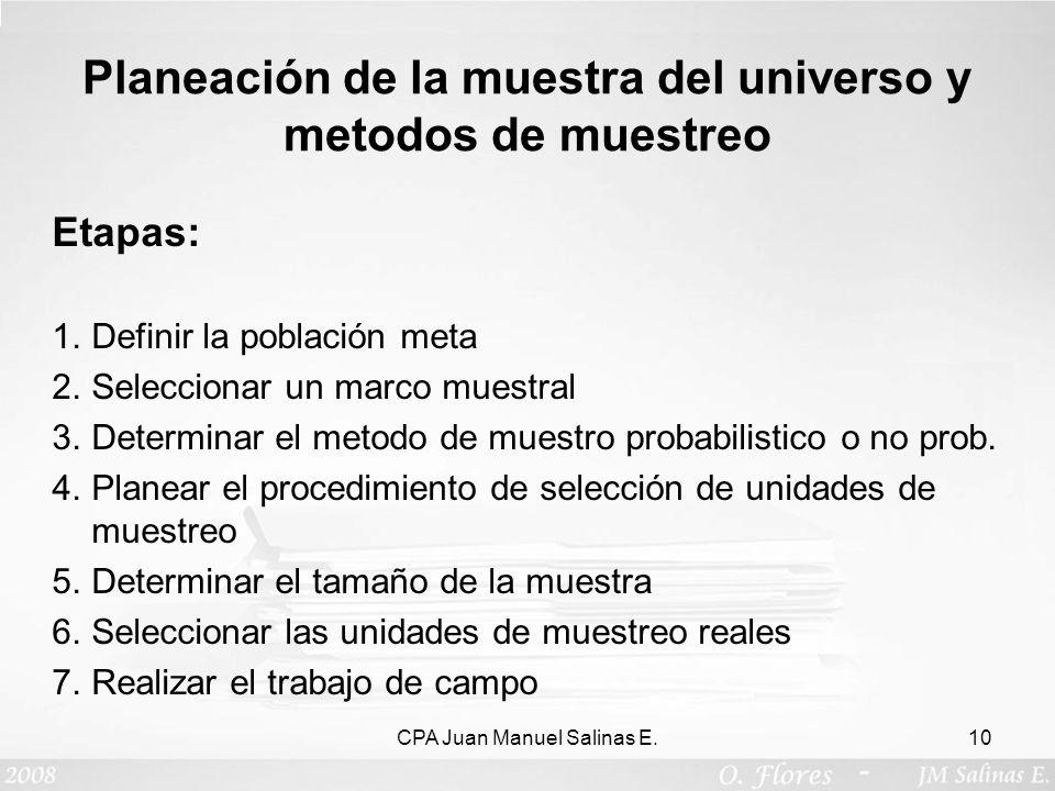 Planeación de la muestra del universo y metodos de muestreo Etapas: 1.Definir la población meta 2.Seleccionar un marco muestral 3.Determinar el metodo
