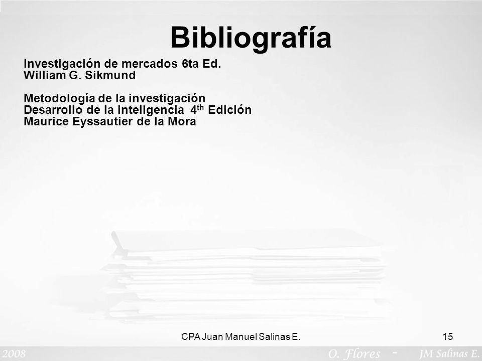 CPA Juan Manuel Salinas E.15 Investigación de mercados 6ta Ed. William G. Sikmund Metodología de la investigación Desarrollo de la inteligencia 4 th E