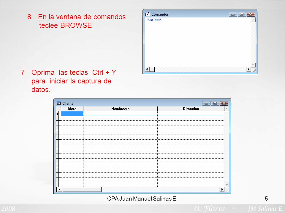 CPA Juan Manuel Salinas E.5 8En la ventana de comandos teclee BROWSE 7Oprima las teclas Ctrl + Y para iniciar la captura de datos.