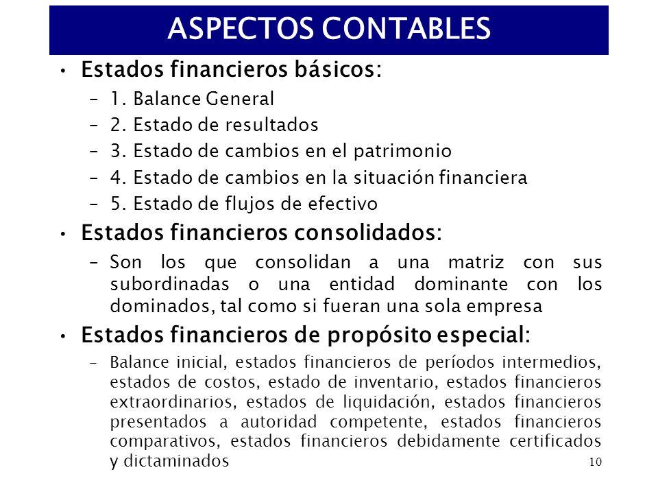 10 Estados financieros básicos: –1. Balance General –2. Estado de resultados –3. Estado de cambios en el patrimonio –4. Estado de cambios en la situac