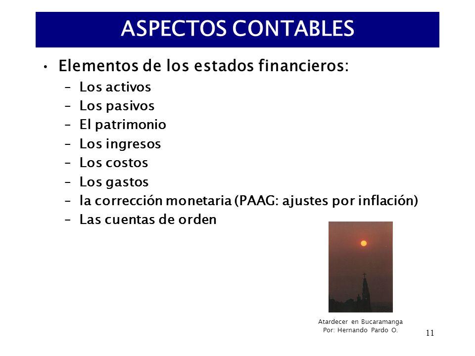 11 Elementos de los estados financieros: –Los activos –Los pasivos –El patrimonio –Los ingresos –Los costos –Los gastos –la corrección monetaria (PAAG