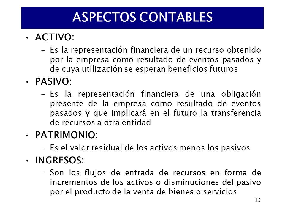 12 ACTIVO: –Es la representación financiera de un recurso obtenido por la empresa como resultado de eventos pasados y de cuya utilización se esperan b